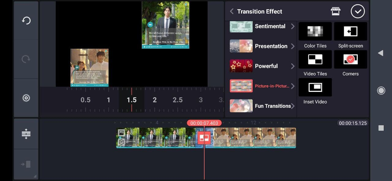 clip graphics and transisition effects kinemaster